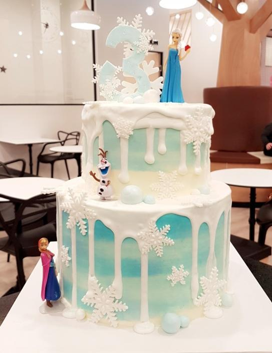 Buttercream covering Chocolate drip 2 tires cake